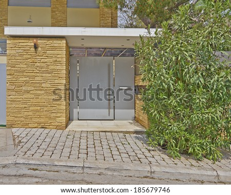 Modern house door, Athens suburbs, Greece