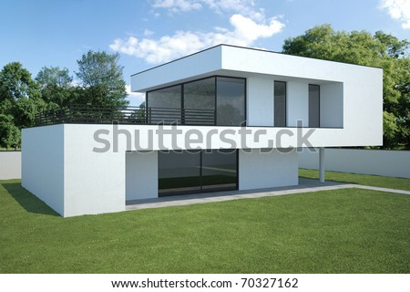 modern house - exterior with lawn - stock photo
