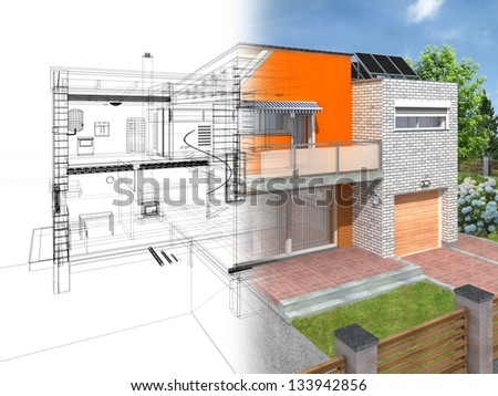 Modern house in the section with visible infrastructure and interior. Outline sketch and rendering. - stock photo