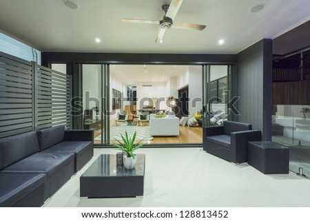 Modern house interior and entertaining area - stock photo