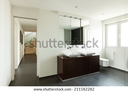 modern house, interior, bathroom view  - stock photo
