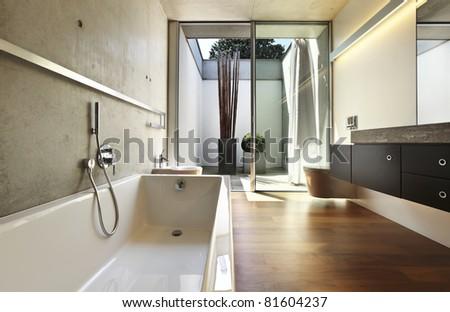 modern house interior, bathroom view - stock photo