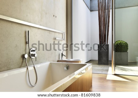 modern house interior, bathroom view - stock photo
