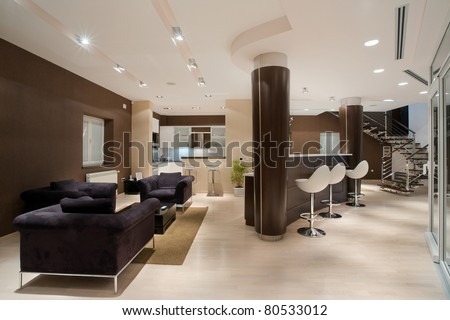 Modern house interior, large and expansive house architecture. - stock photo