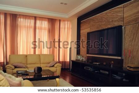 Modern house living-room - stock photo