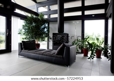 Modern house,living-room with the modern furniture