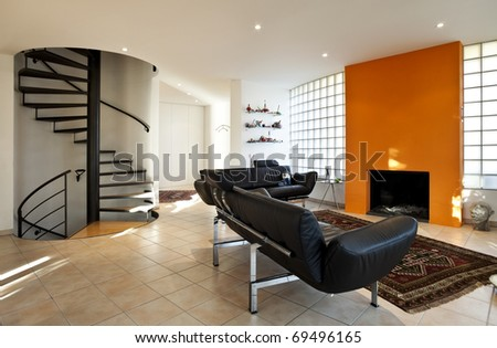 Modern house, living-room with the modern furniture - stock photo