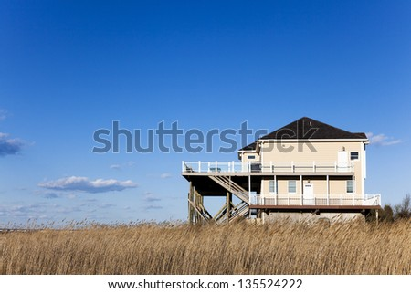 Modern house located at the famous Hamptons area. Long Island , New York - stock photo