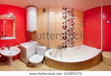 Modern house, red bathroom interior. Panorama room - stock photo