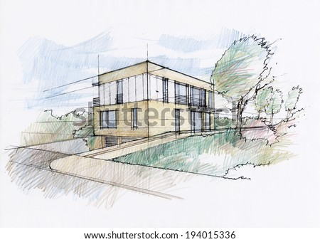 Modern house sketch - stock photo