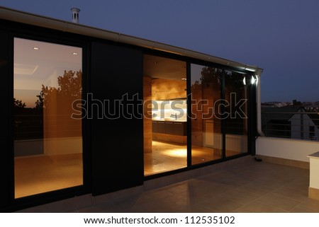 Modern house terrace, bathroom and wellness - stock photo
