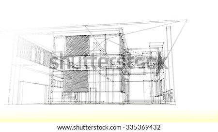 Modern House Wire Frame Stock Illustration 335369432 Shutterstock