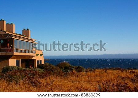 Modern House with View On the Ocean, on the Sonoma-Mendocino coast. - stock photo