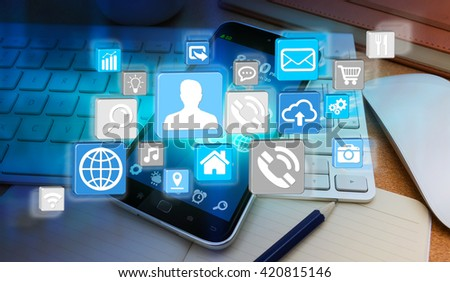 Modern icons flying over mobile phone in office '3D rendering' - stock photo