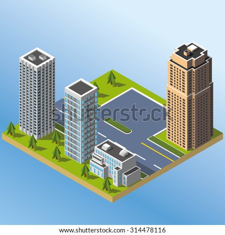 Modern illustration of an Isometric Buildings set in downtown. 3d buildings icon.