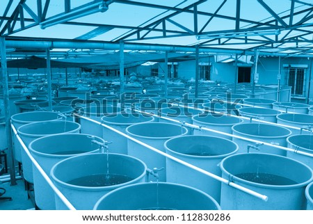 modern industrial aquaculture water system farm - stock photo
