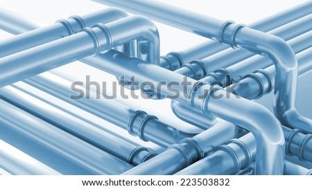 Modern industrial blue metal pipeline fragment. 3d render illustration - stock photo