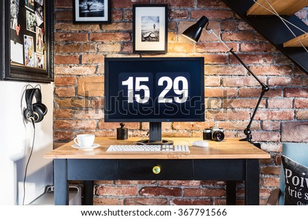 Modern industrial creative workspace. - stock photo