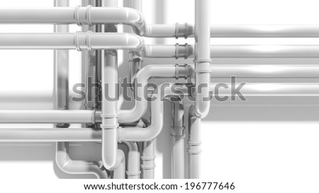 Modern industrial metal pipeline intersection. 3d render - stock photo