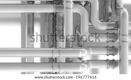 Modern industrial metal pipeline intersection. 3d render illustration - stock photo