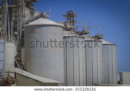 modern industry and refinery, warehouses and industrial tanks
