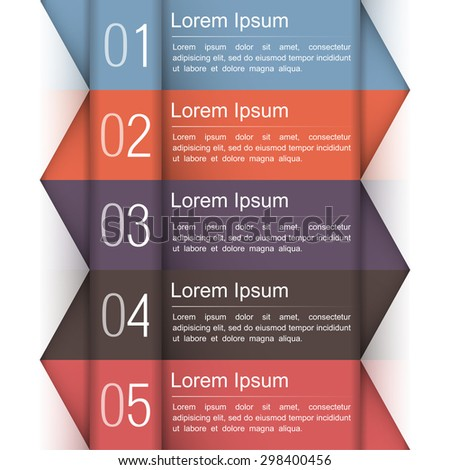 Modern infographics design template with five elements - stock photo