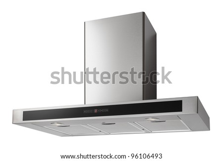 Modern INOX cooker hood isolated on white - stock photo