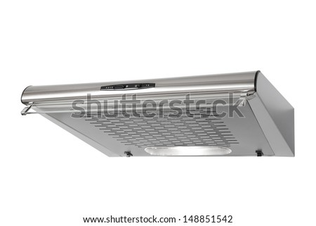 Modern INOX cooker hood isolated on white with clipping path - stock photo