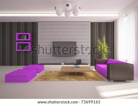 Living Room Violet Walls Stock Images Royalty Free