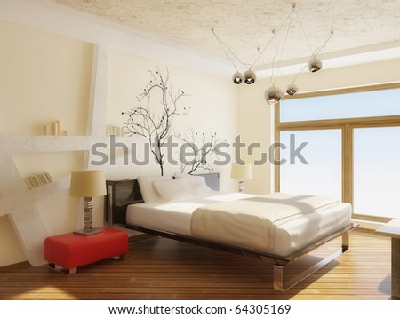 modern interior bedroom with black bed and white walls - stock photo