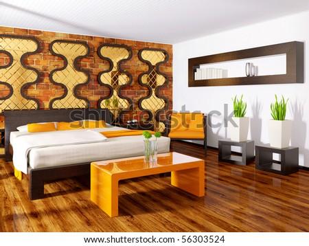 modern interior bedroom with bricks wall - stock photo