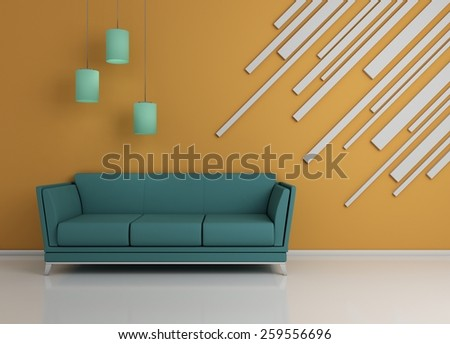 Modern interior composition with abstract decorations on wall. - stock photo