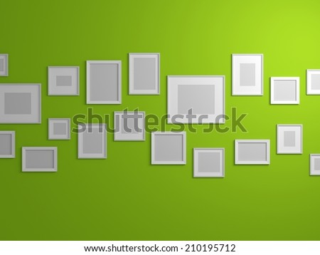 Modern interior composition with blank pictures on wall. - stock photo