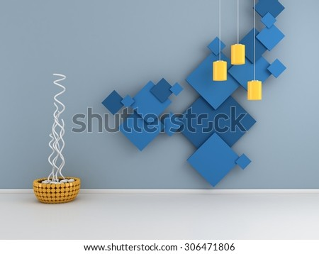 Modern interior composition with colorful pictures on wall. - stock photo