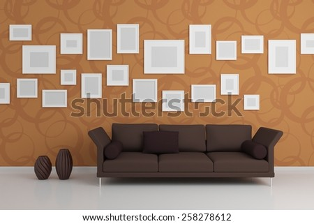 Modern interior composition with sofa and pictures on the wall. - stock photo