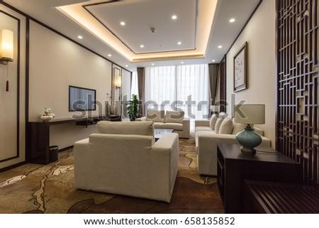Modern interior 3 d design concep hotel suite stockfoto lizenzfrei