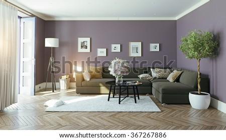 modern interior.3d design concept - stock photo