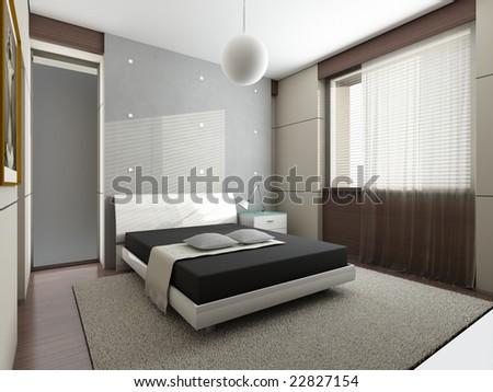 Modern interior. 3D render - stock photo