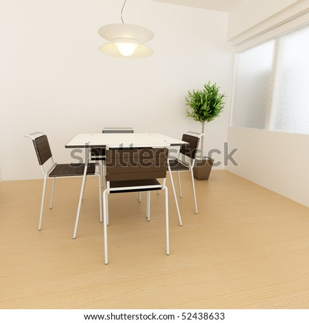 modern interior 3D rendering - stock photo