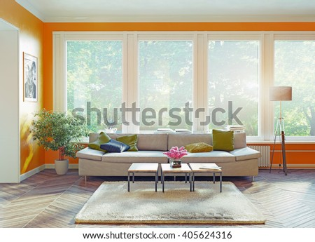 modern interior.3d rendering design concept - stock photo