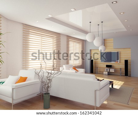 modern interior design ( apartment 3d rendering) - stock photo