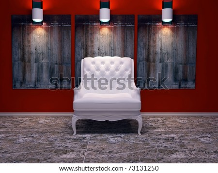 Modern interior design, nice composition with lamps, white classic armchair, stone floor and wall decor, 3d render - stock photo