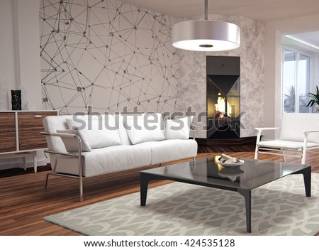 Modern Interior Design Of Living Room 3D Illustration, 3D Rendering Part 44