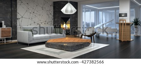 Modern Interior Design Of Living Room 3D Illustration Rendering