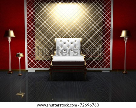 Modern interior design of living room, gold decoration, 3d render - stock photo