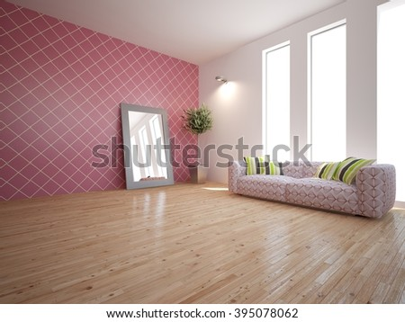 Modern interior design of living room with colored furniture - 3d illustration - stock photo