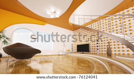 Modern interior design of living room with staircase 3d render - stock photo