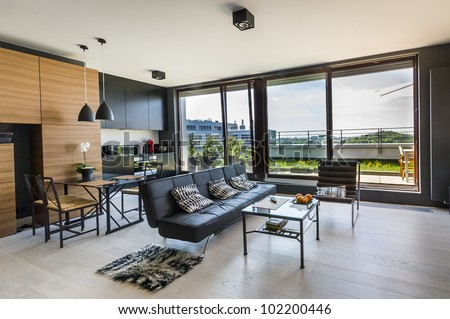 Modern interior design room with panoramic windows