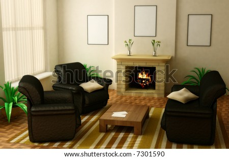 modern interior design with fireplace and sofas - stock photo