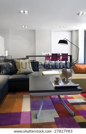 Modern interior - dining room - stock photo